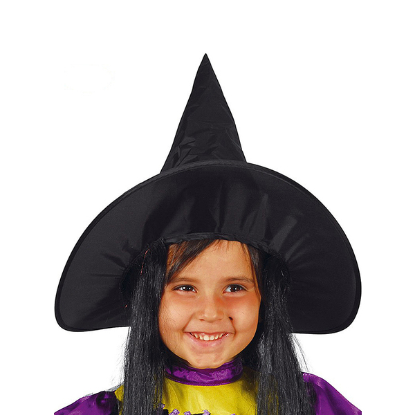 Girls Black Witch Hat with Hair